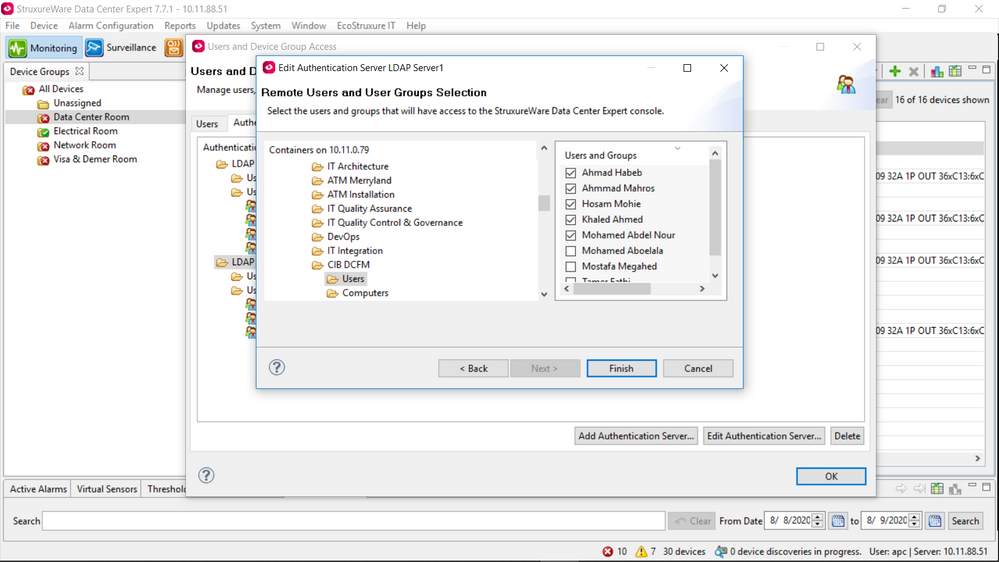 I can see LDAP users and choose from them But they were not added to DCE