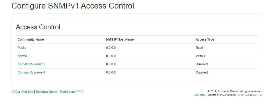 Newest ATS SNMP settings