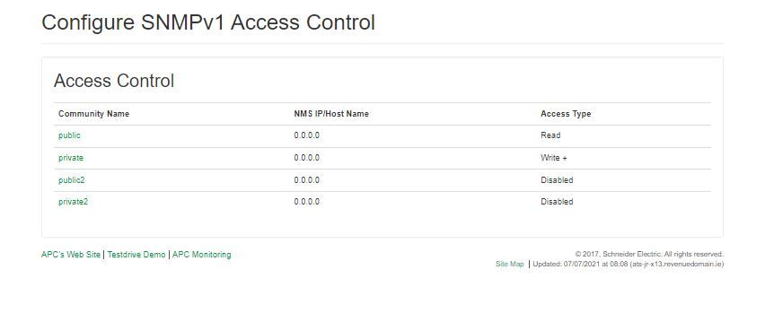 Existing ATS SNMP settings