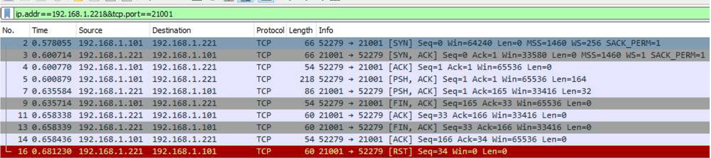 Figure 3: Packet capture of a Manual Door Unlock command to the worst-case SP-C from Security Expert Software